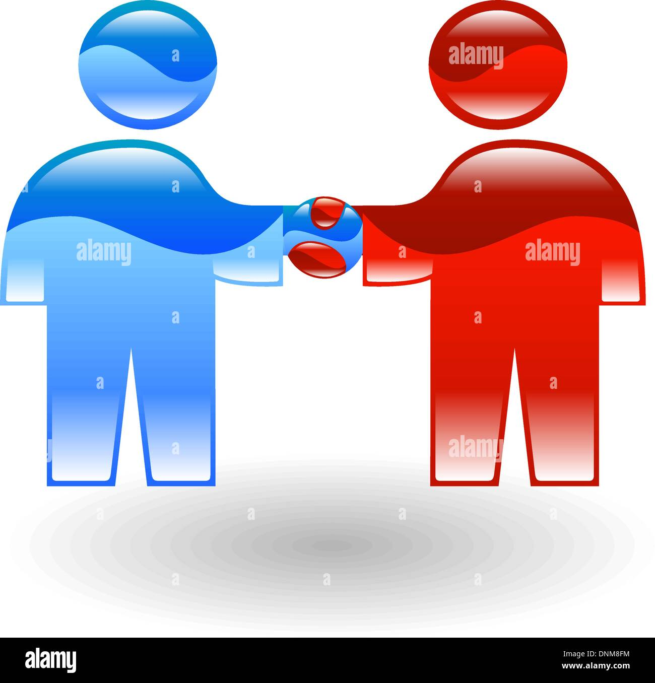 two stylised business people shaking hands - Stock Vector