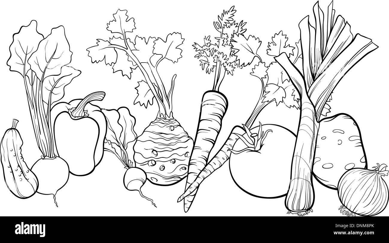 Black And White Cartoon Illustration Of Vegetables Food Object Big