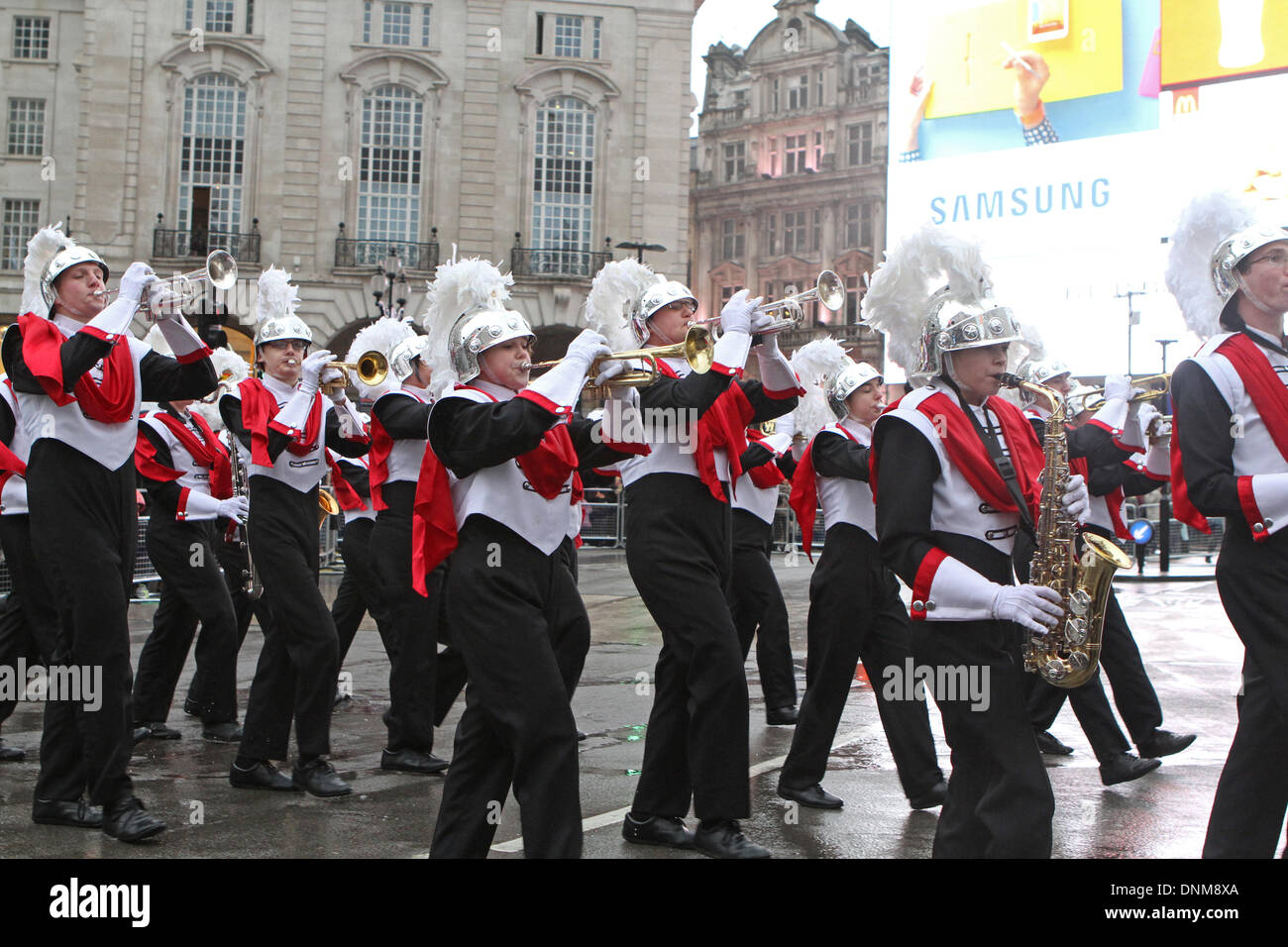 London,UK,1st January 2014,Troy High School marching band at the London's New Year's Day Parade 2014 Credit: Keith Larby/Alamy Live News - Stock Image