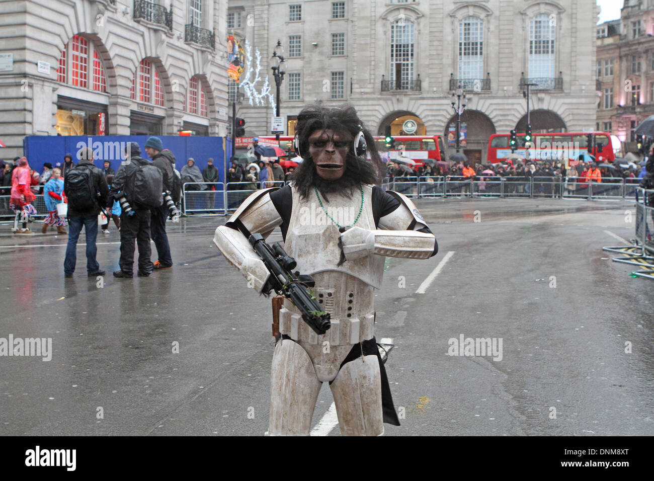 London,UK,1st January 2014,A cross between planet of the apes and star wars costume at the London's New Year's Day Stock Photo