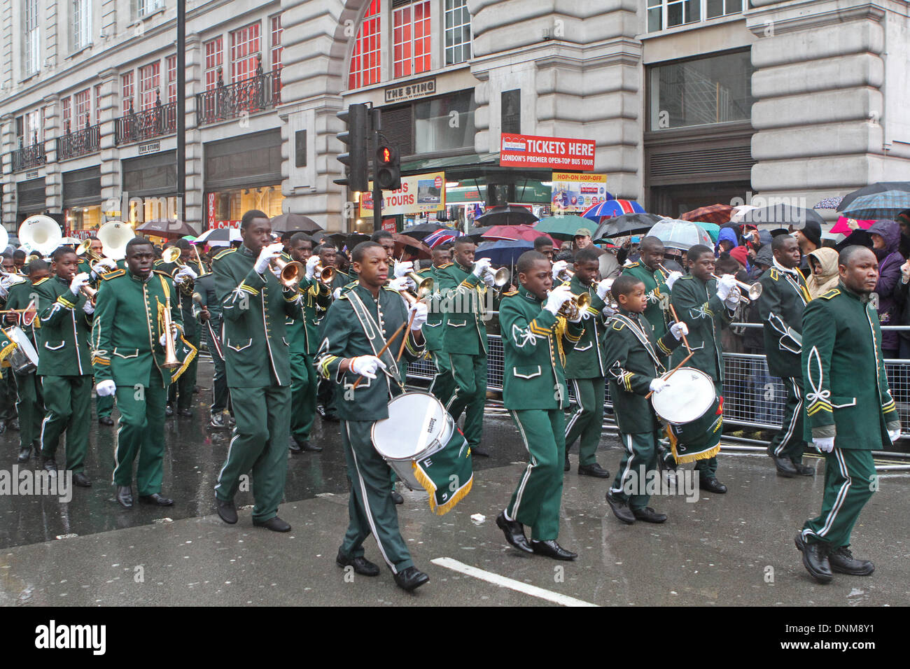 London,UK,1st January 2014,Kimbaguist Brass  Band marching at the London's New Year's Day Parade 201 Credit: Keith Larby/Alamy Live News - Stock Image