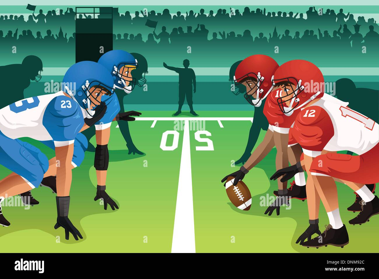 A vector illustration of football players in a match in a stadium - Stock Vector