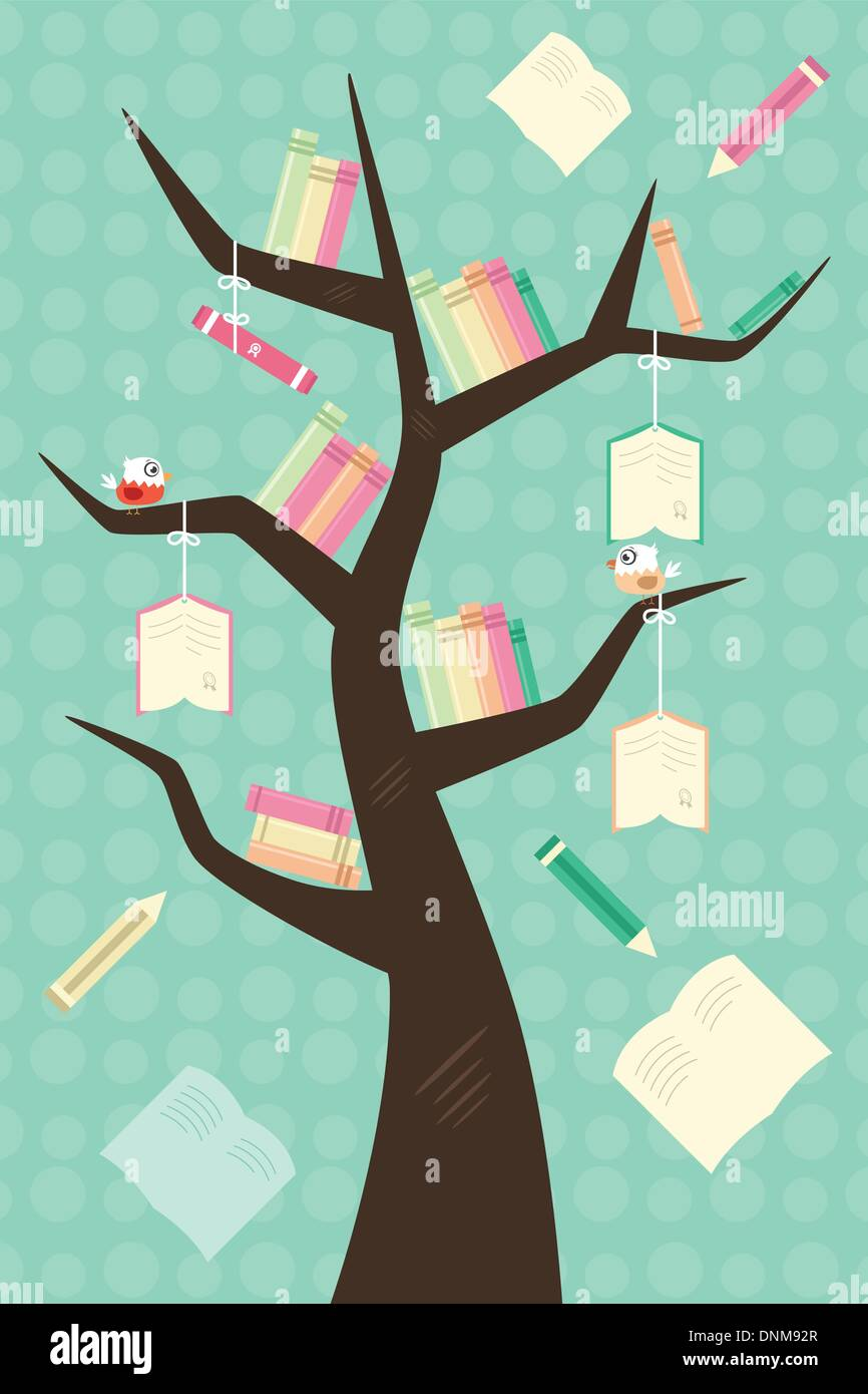 A vector illustration of a learning tree education concept - Stock Image