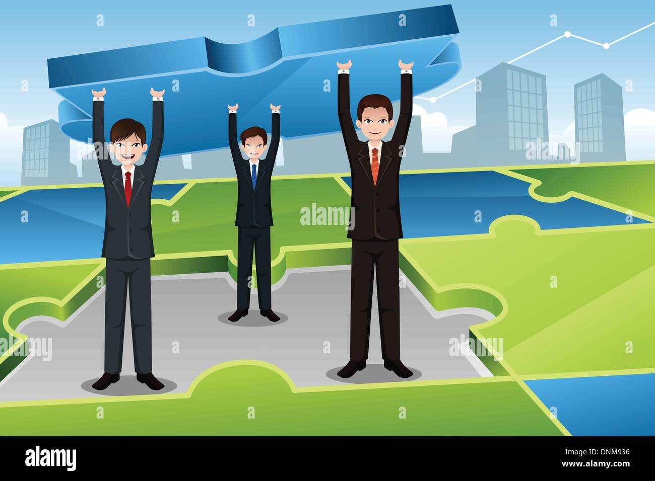 A vector illustration of businessmen carrying big puzzle together for business teamwork concept - Stock Image