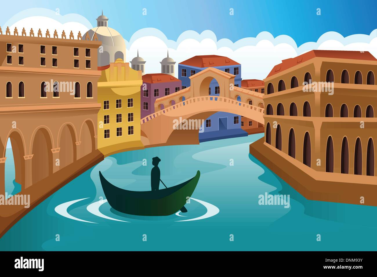 A vector illustration of a European city scene - Stock Vector