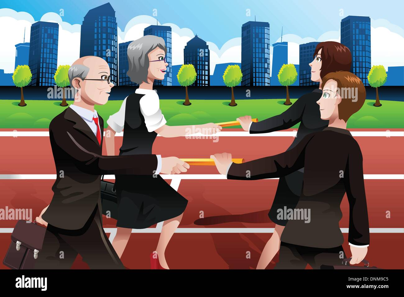 A vector illustration of older business people passing batons to the younger generation - Stock Vector