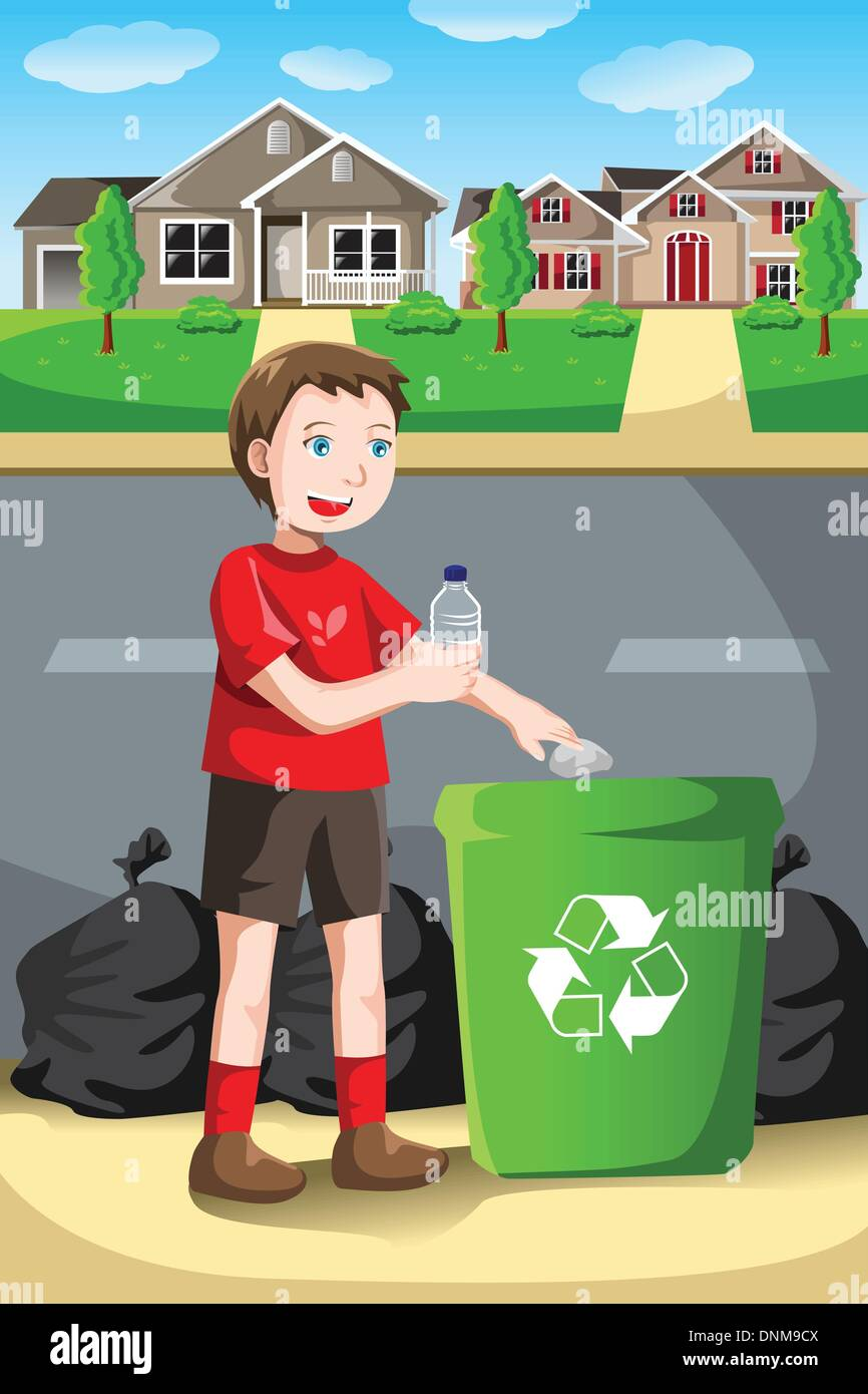 A vector illustration of a kid recycles a bottle into a recycling bin - Stock Image