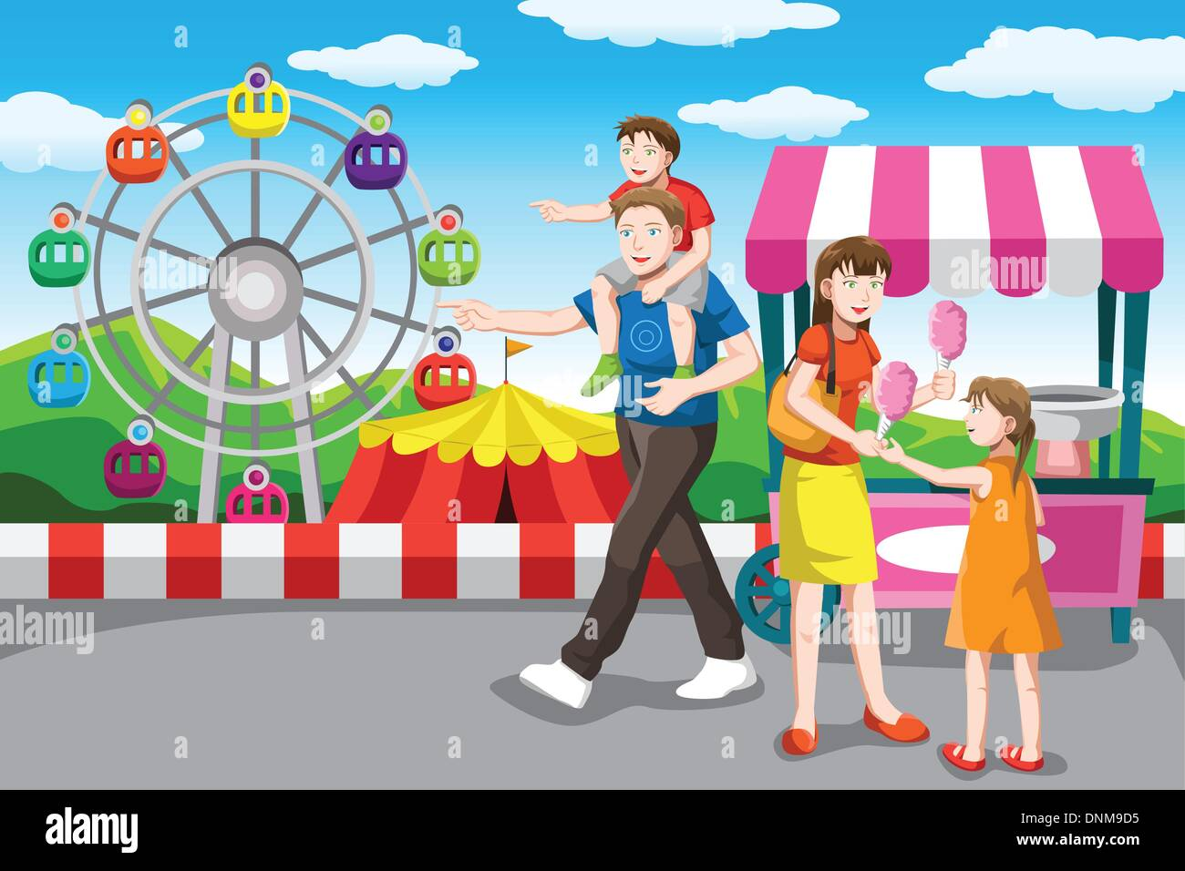 A vector illustration of a happy family recreation in the amusement park - Stock Vector