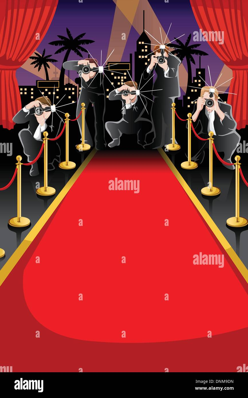 A Vector Illustration Of Red Carpet And Paparazzi Background With Stock Vector Image Art Alamy