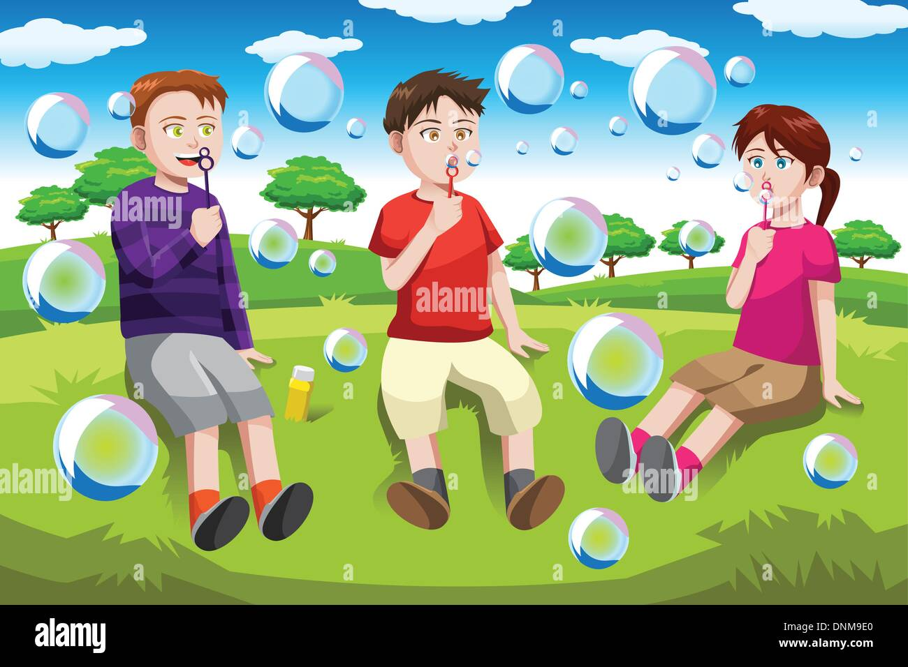 A vector illustration of happy kids blowing bubbles in the park - Stock Vector
