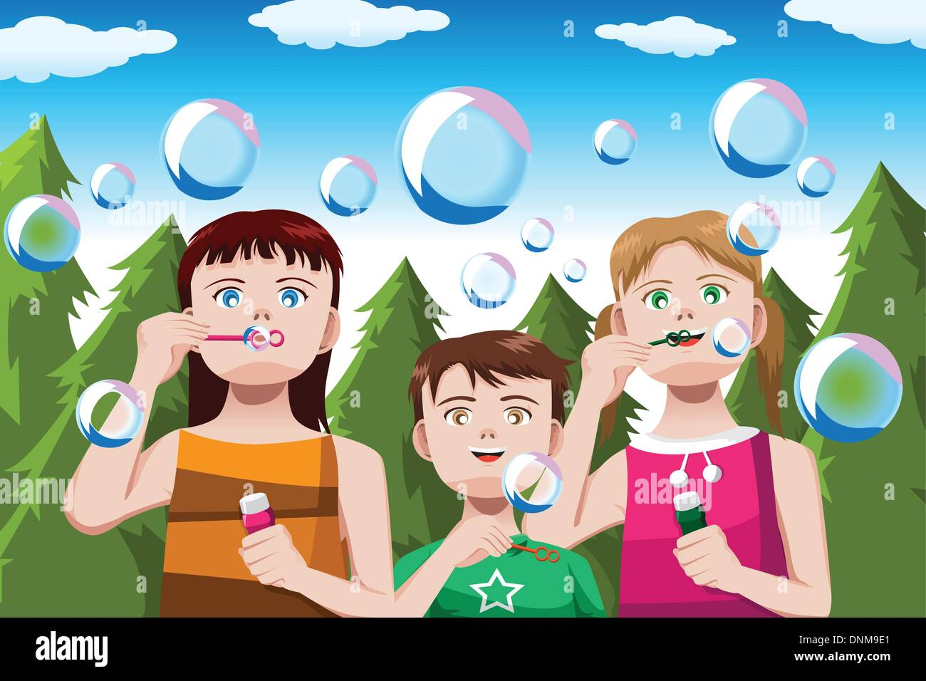 A vector illustration of happy kids blowing bubbles in the park with copyspace - Stock Vector