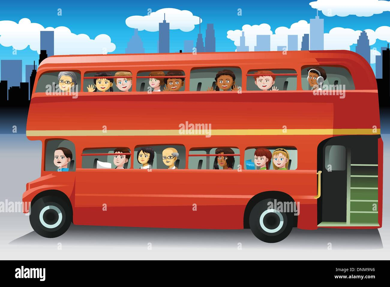 A vector illustration of different people looking out from the windows of a bus - Stock Image