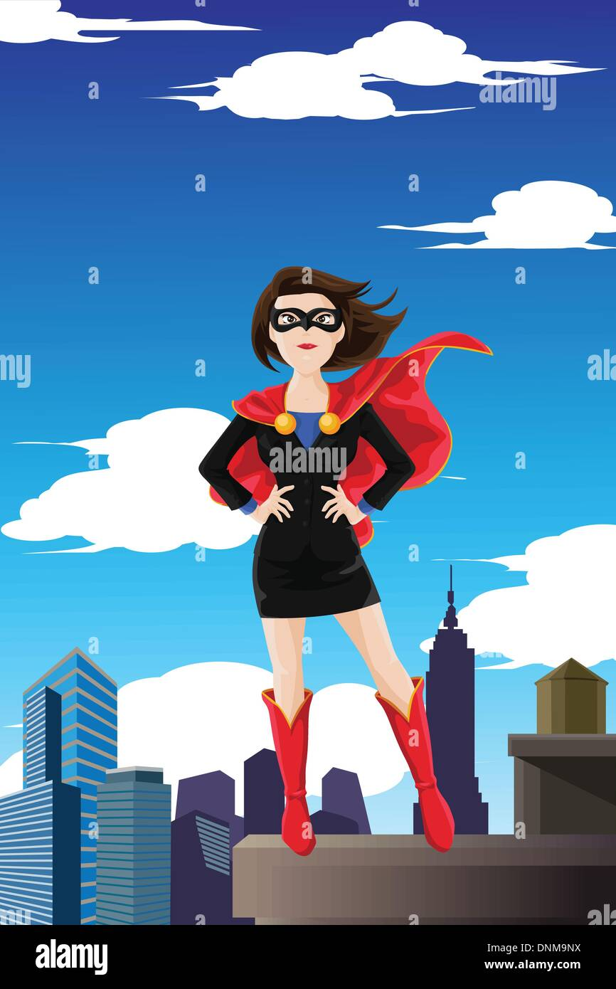 A vector illustration of a superhero businesswoman wearing a cape standing on top of a building - Stock Image