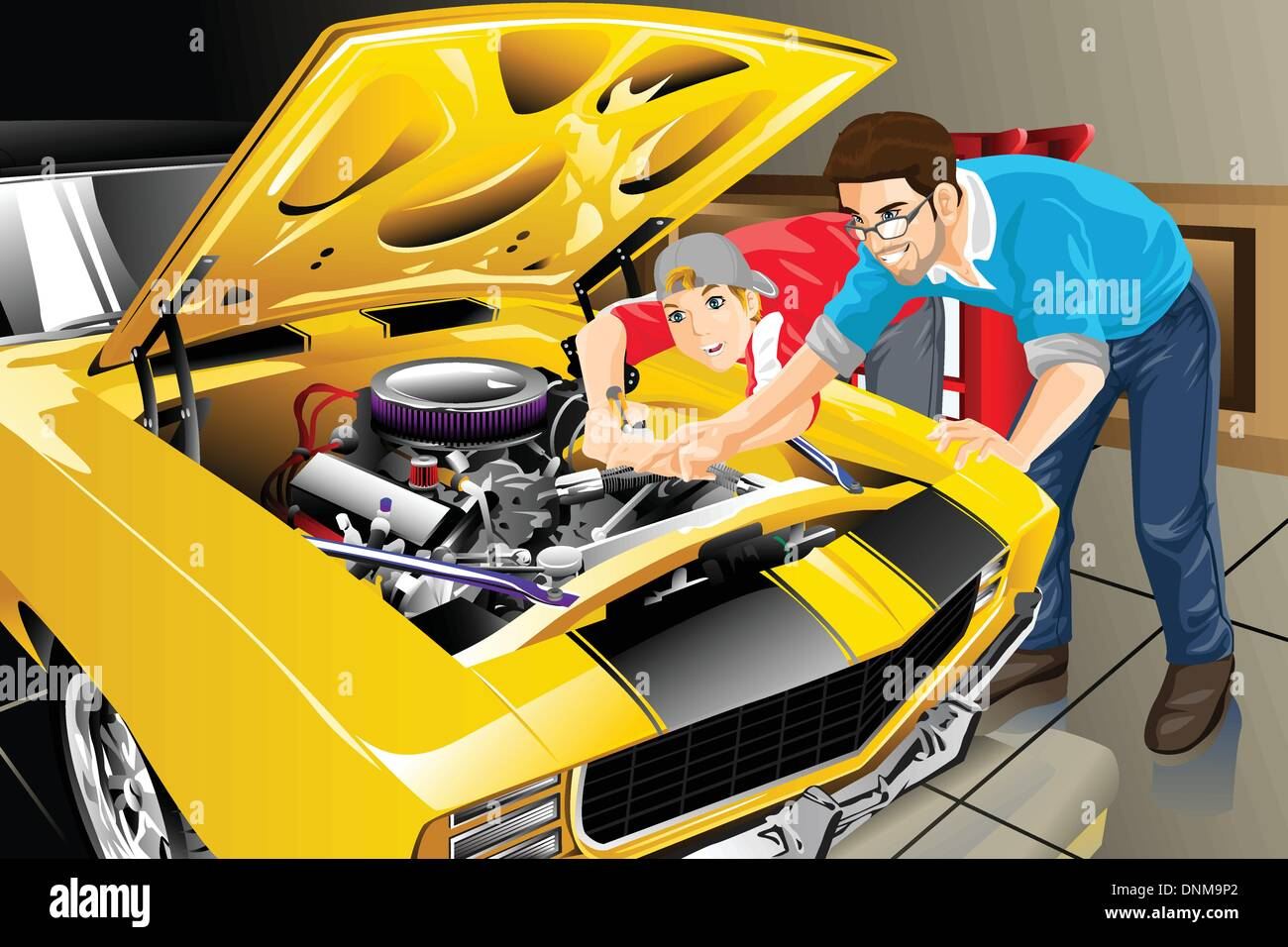 A Vector Illustration Of A Father And Son Working Together On Car In Their  Garage