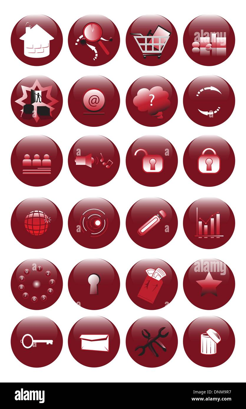 A vector illustration of red icons set for websites - Stock Image