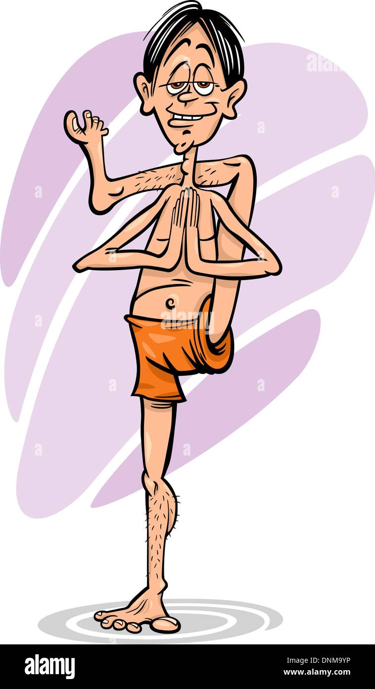 Cartoon Illustration Of Funny Man Practicing Yoga Position Or Asana Stock Vector Image Art Alamy