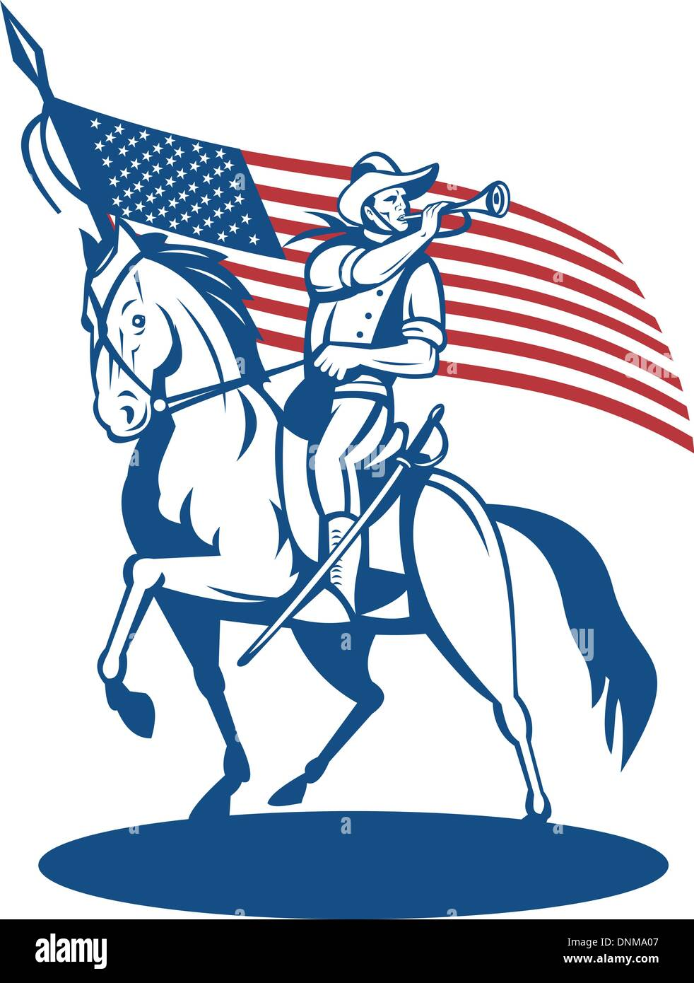 illustration of a American cavalry riding horse blowing a bugle and stars and stripes flag in background - Stock Vector