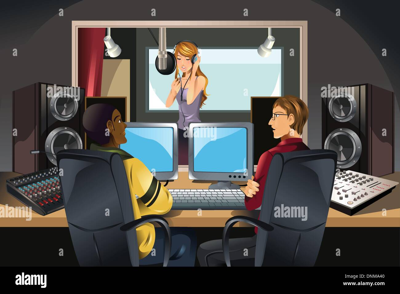 A vector illustration of a singer singing in a studio being listened to by music producers - Stock Vector