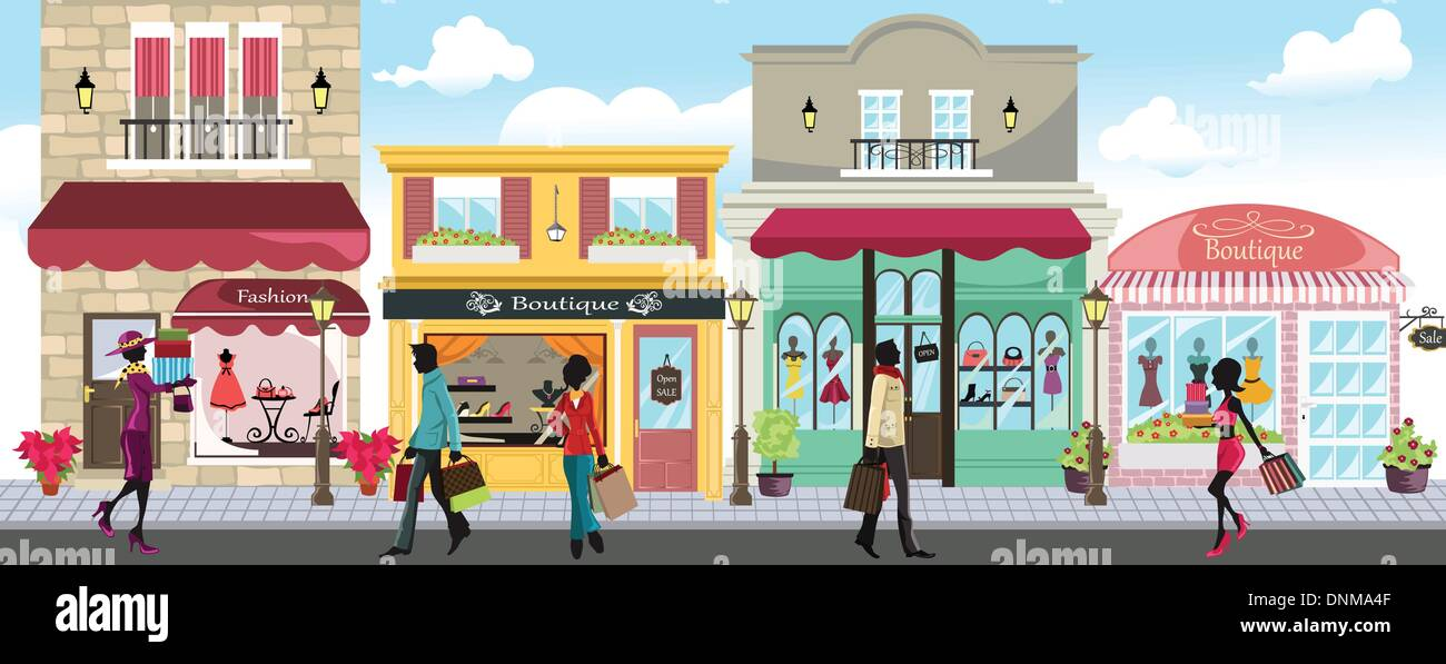 A vector illustration of people shopping in an outdoor shopping mall - Stock Vector