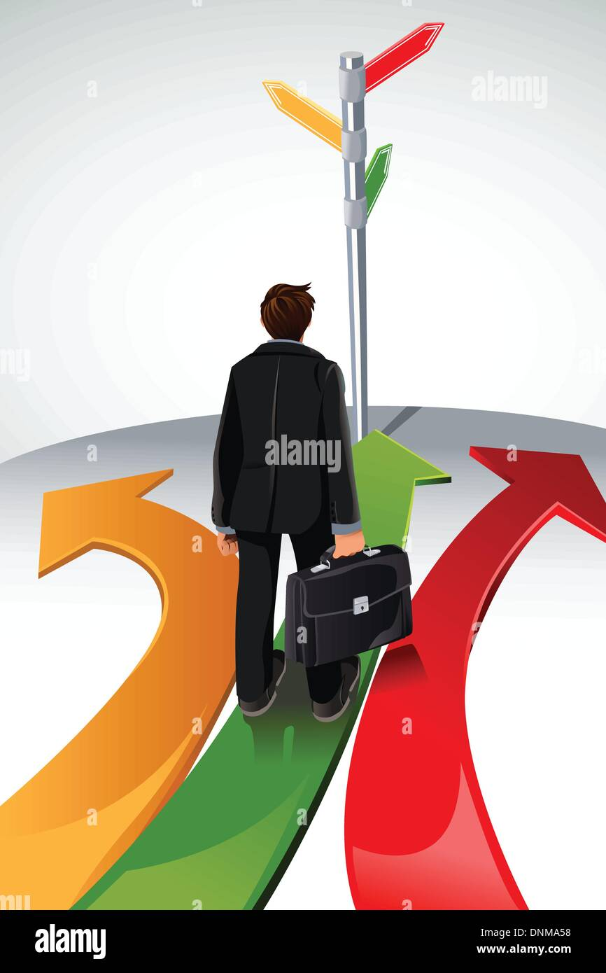 A vector illustration of a business concept, a businessman standing at a crossroads, with the sign posts pointing Stock Vector