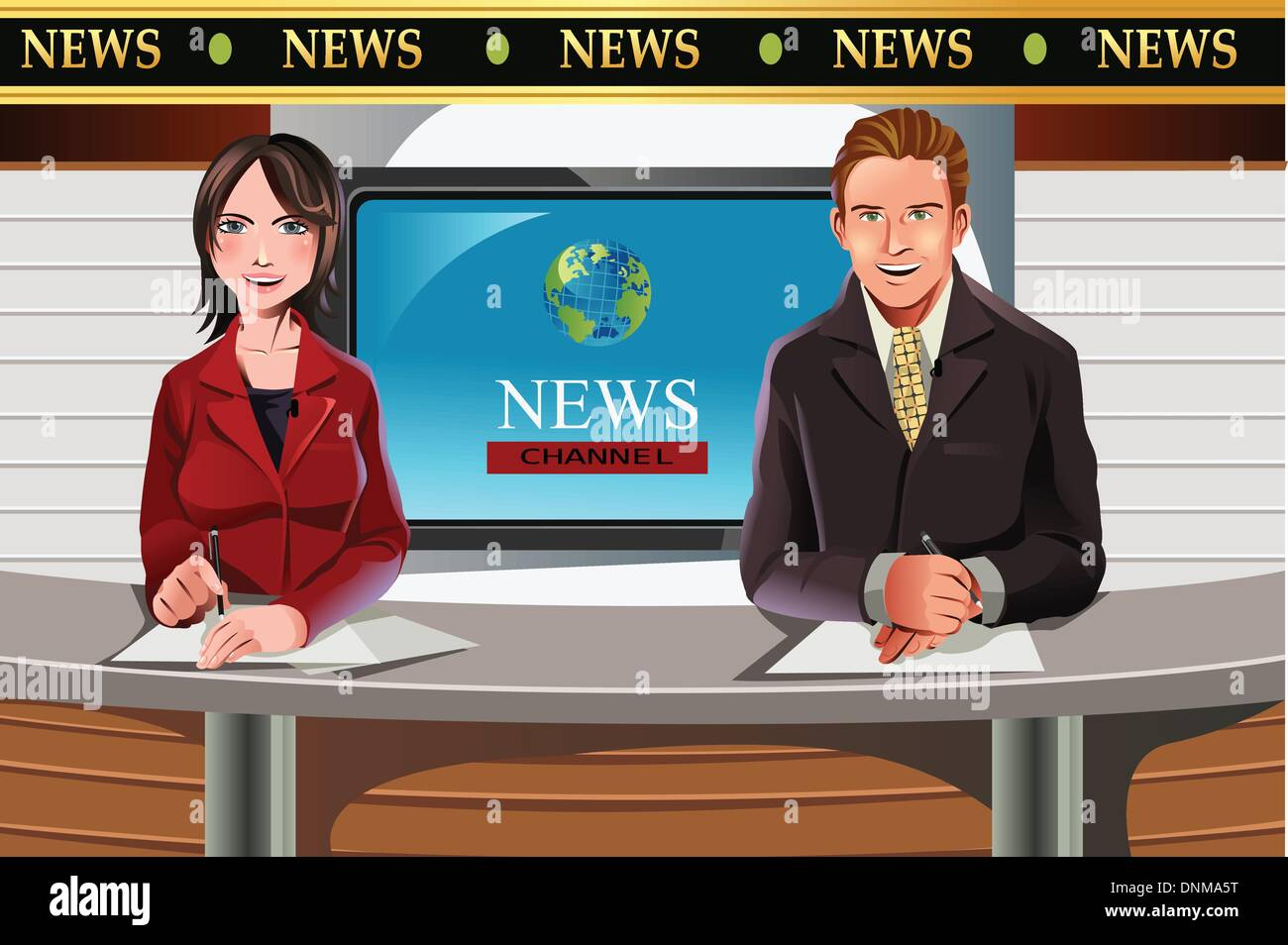 A vector illustration of TV news anchors - Stock Image
