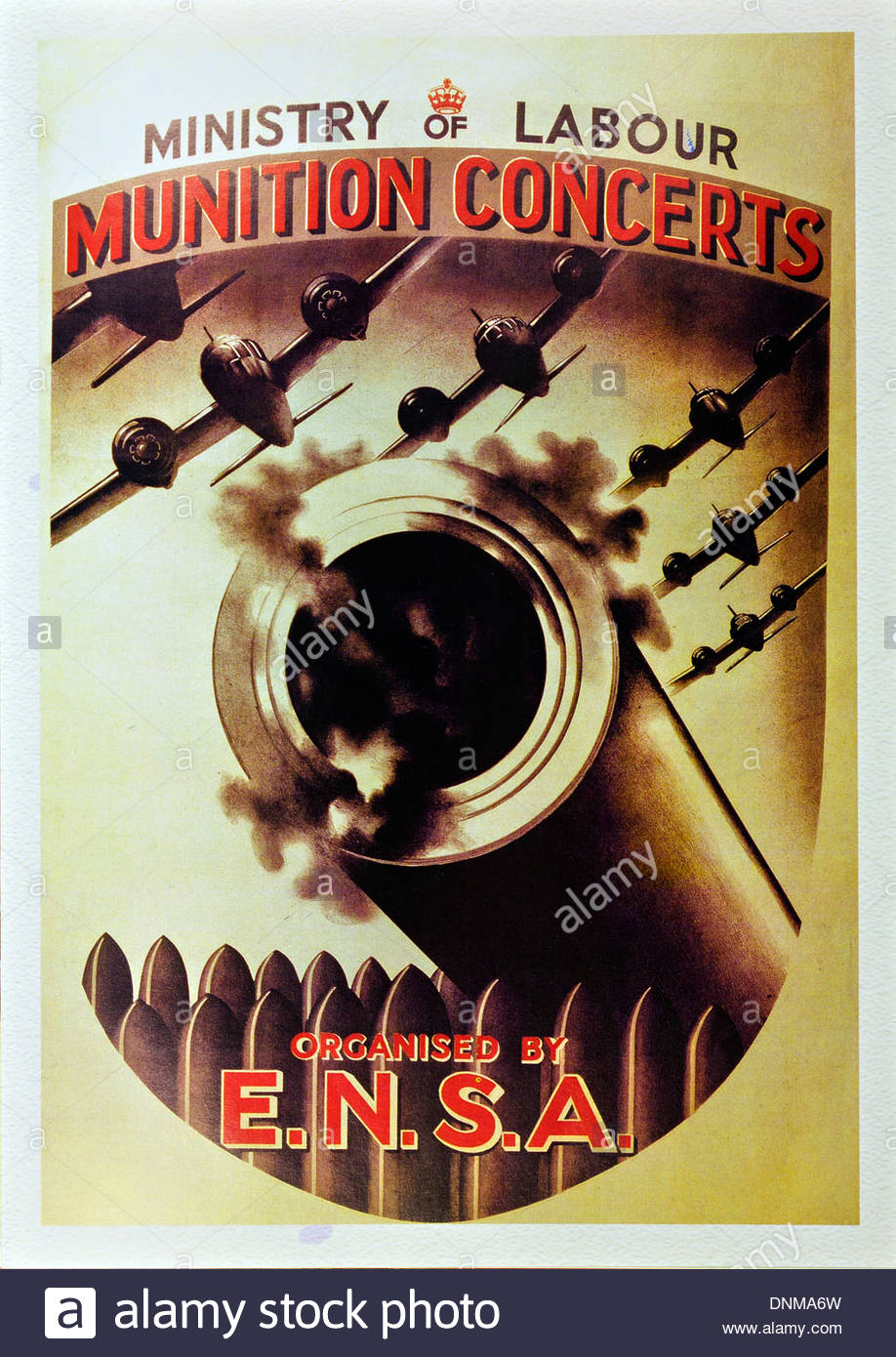 second world war poster of ministry of labour munition concerts organised by ensa - Stock Image
