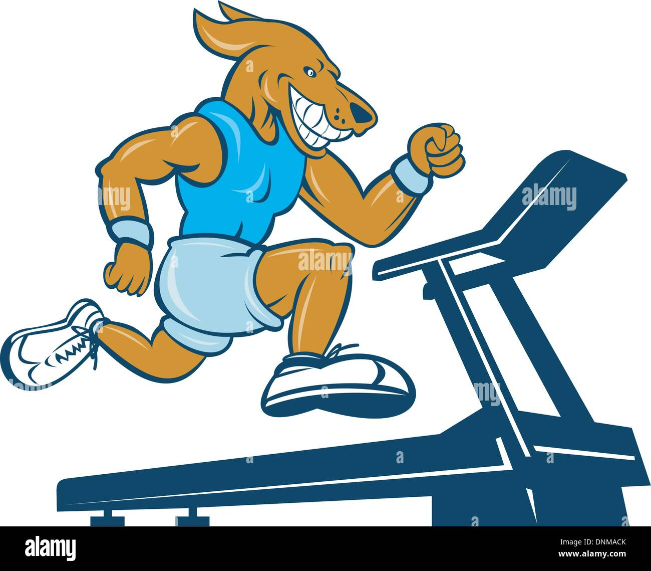 cartoon illustration of a Dog running on tread mill isolated on white background - Stock Image