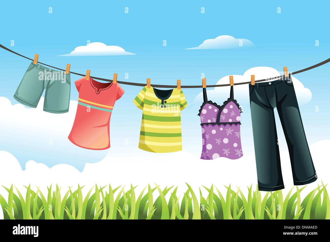 A vector illustration of clothes drying outdoor - Stock Vector