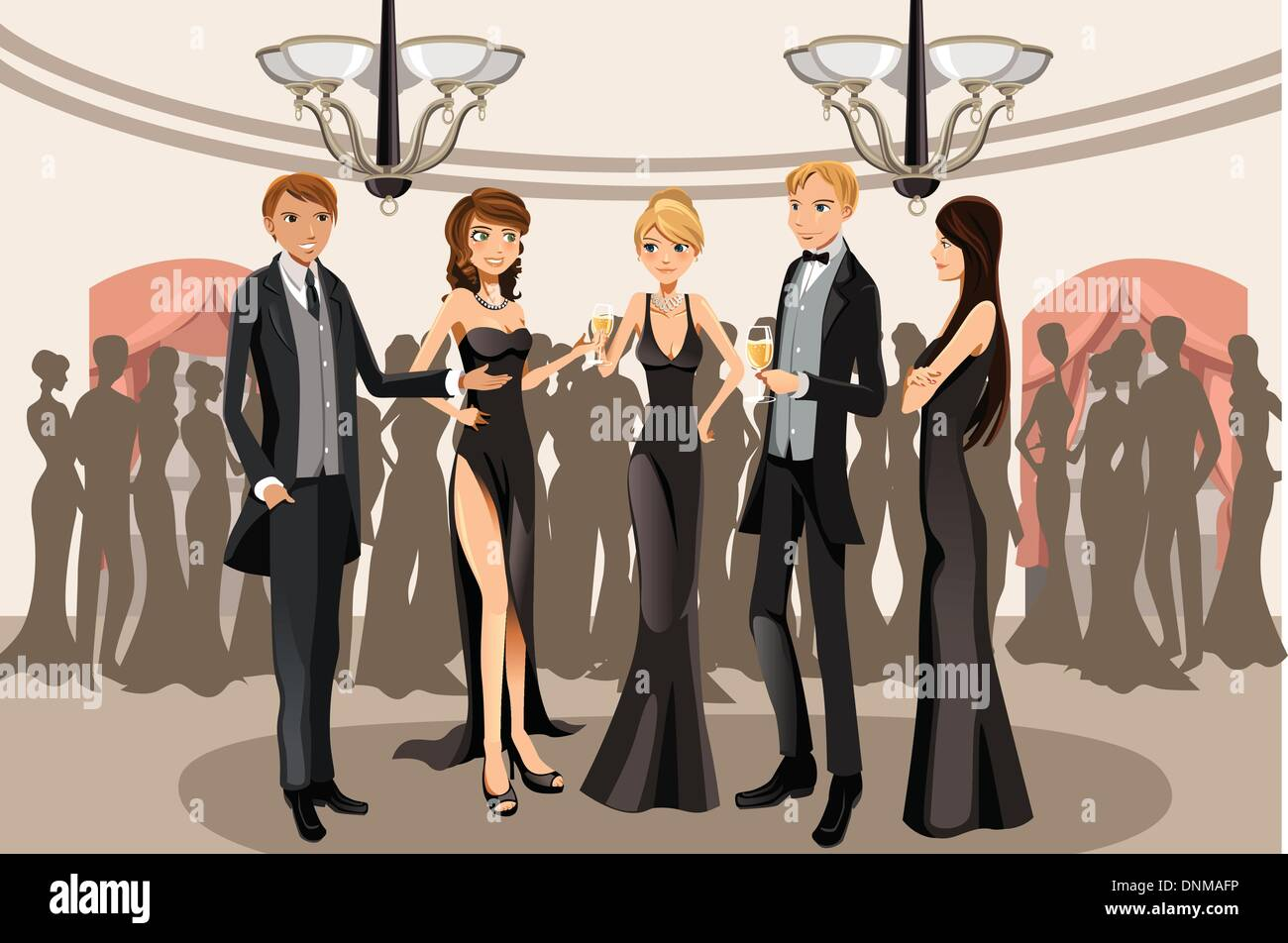 A vector illustration of people in a banquet party - Stock Vector