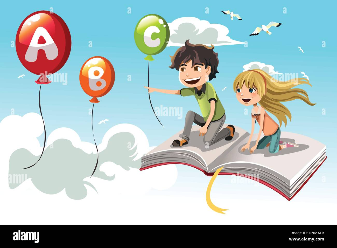 Vector Illustration Two Kids Learning Stock Photos & Vector ...