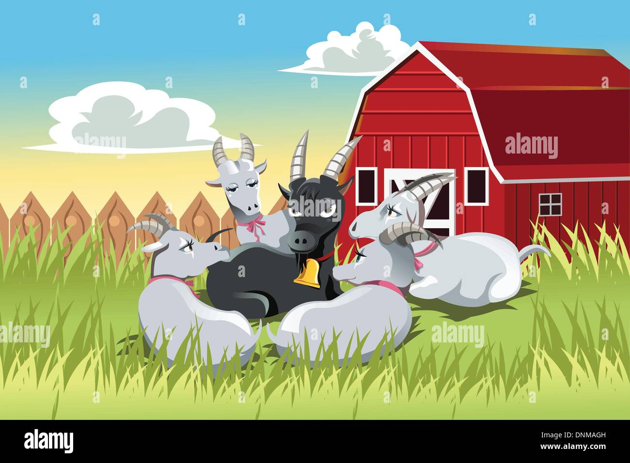 A Vector Illustration Of Male Goat Surrounded By Female Goats In Farm