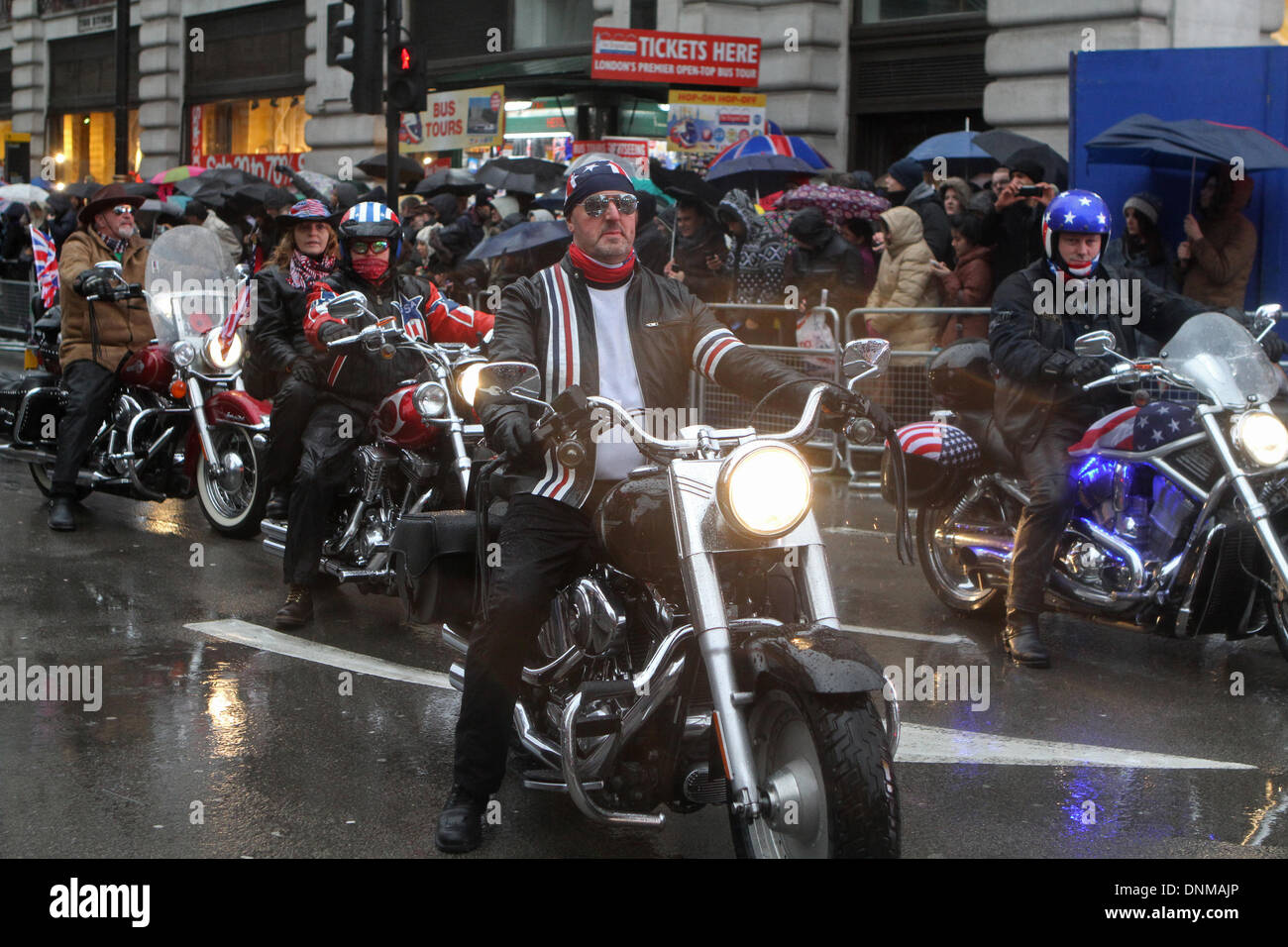 London,UK,1st January 2014,Motorbikes take part in the London's New Year's Day Parade 2014 Credit: Keith Larby/Alamy Stock Photo