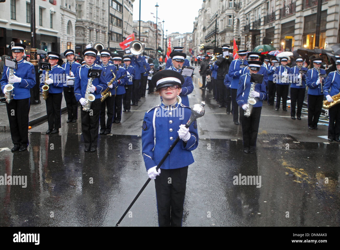 London,UK,1st January 2014,Essex marching Corps from Benfleet took part in the London's New Year's Day Parade 2014 Stock Photo