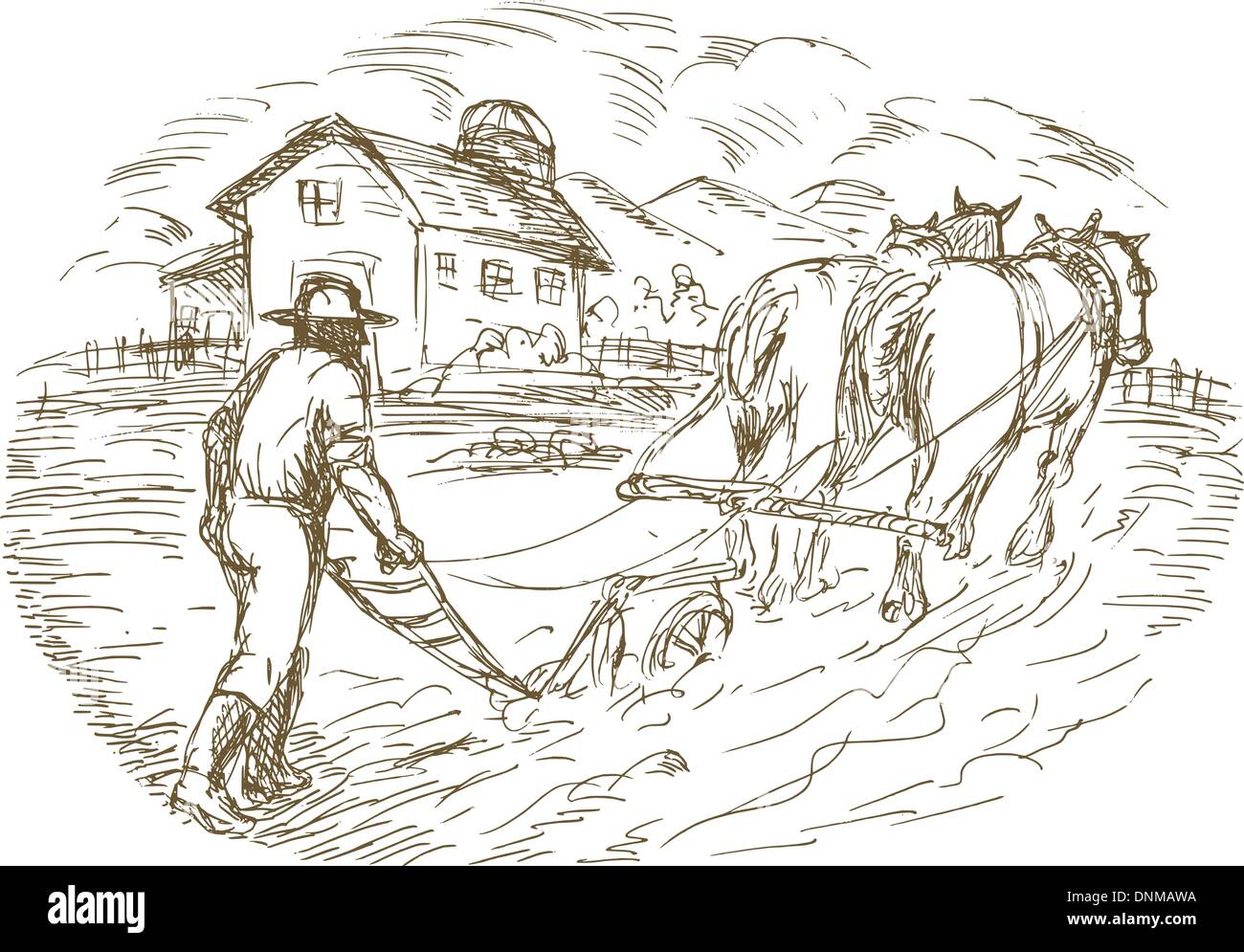 Hand Drawn Sketched Vector Illustration Of A Farmer And Horse Plowing The Field With Barn Farmhouse