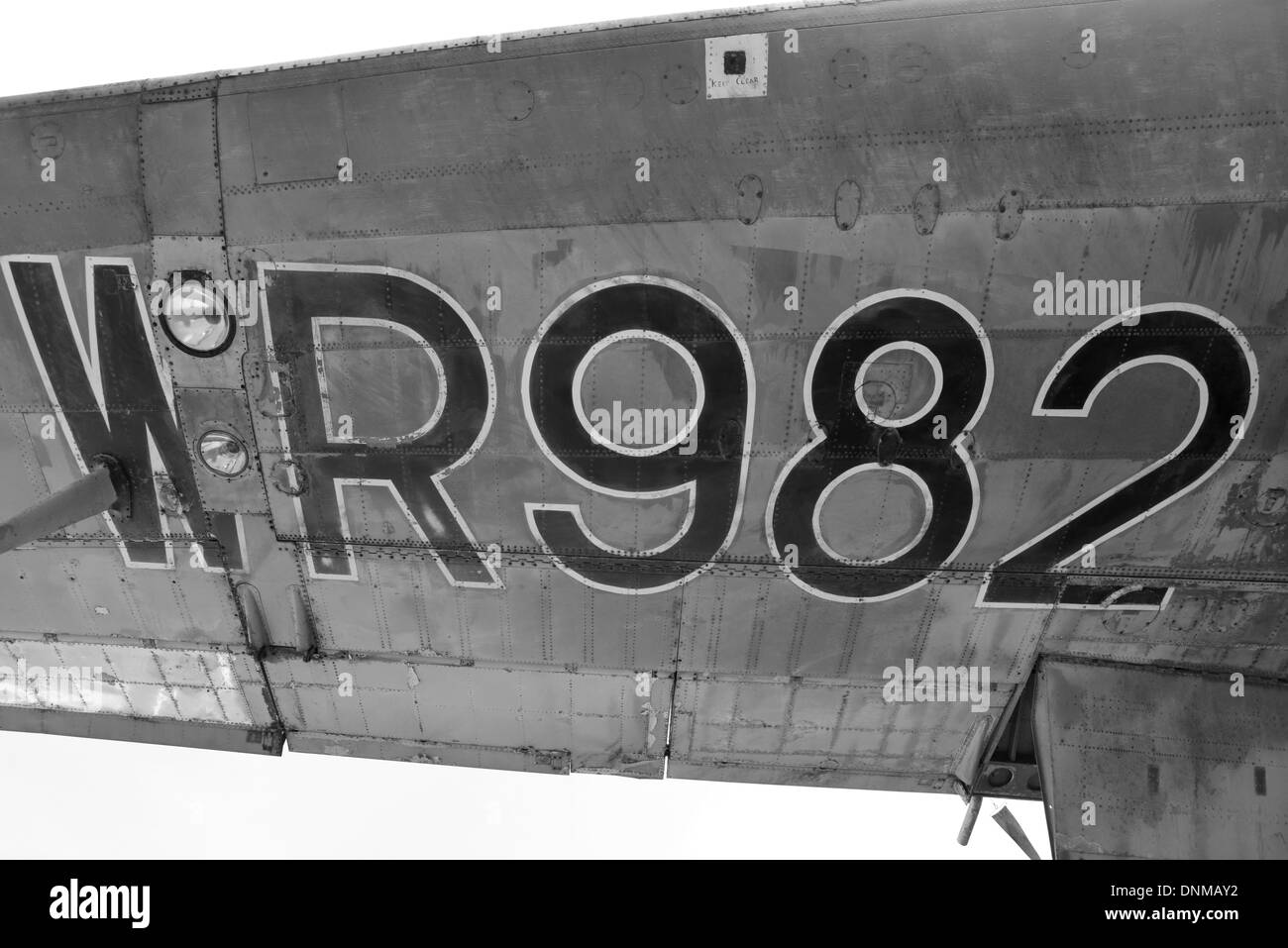 Large numbers painted on the wing of a plane, an Avro Shackleton - Stock Image