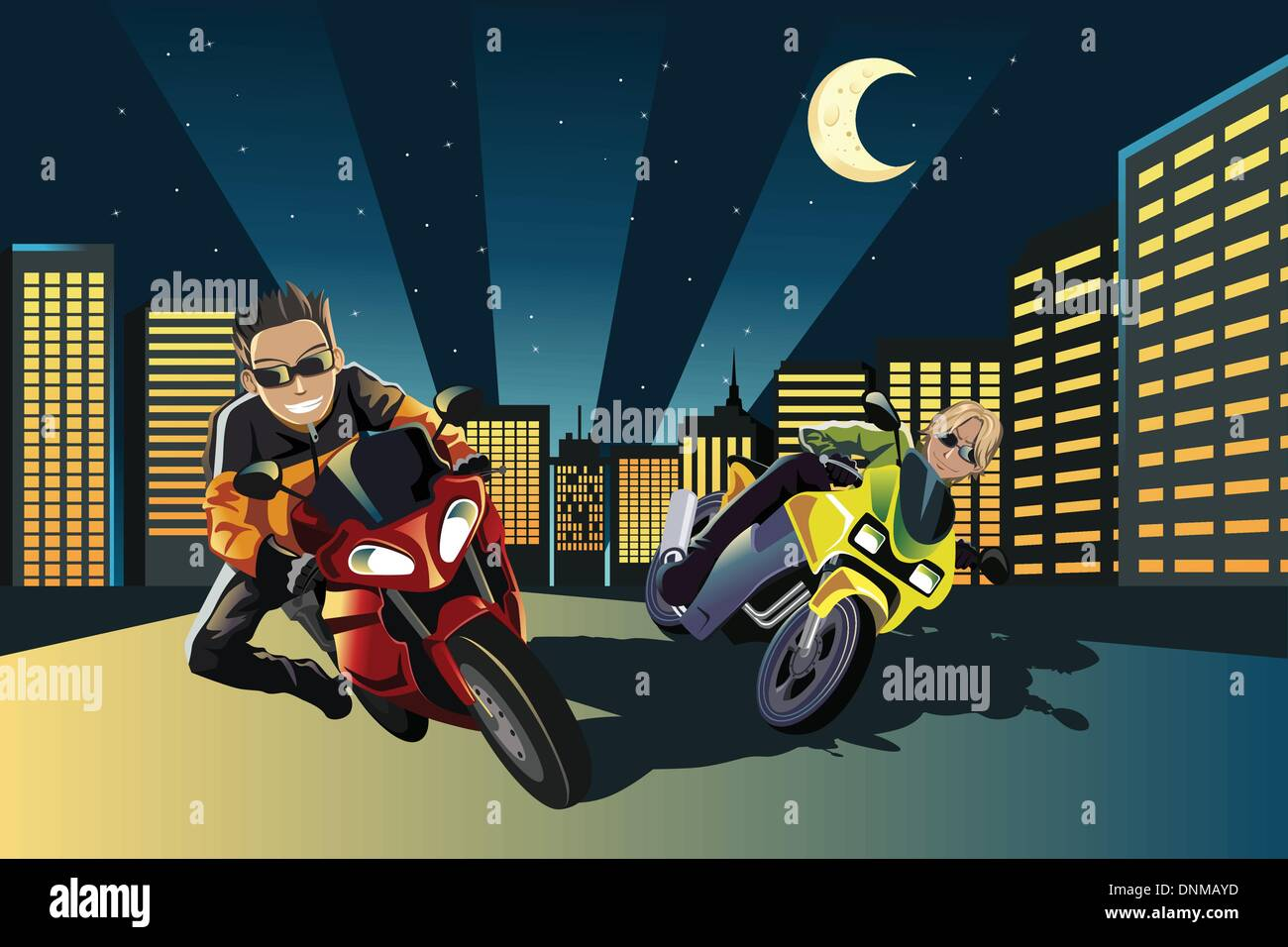 A vector illustration of young motorcycle racers in the city Stock Vector