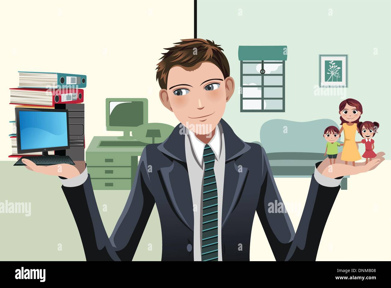 A vector illustration of a businessman having to decide between work and family - Stock Vector