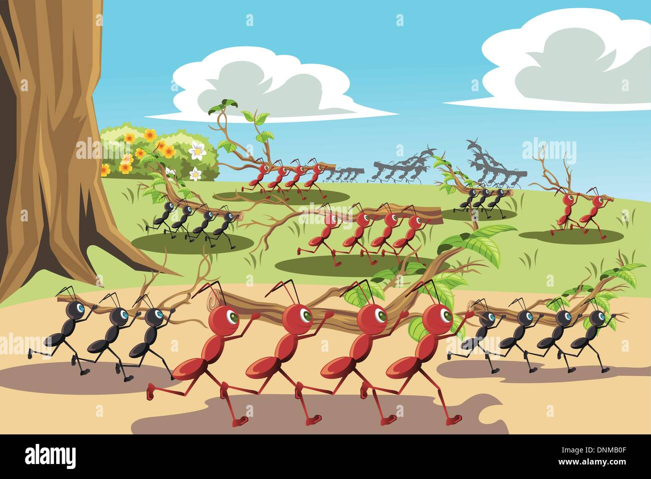 A vector illustration of a colony of ants working together, can be used for teamwork concept - Stock Vector