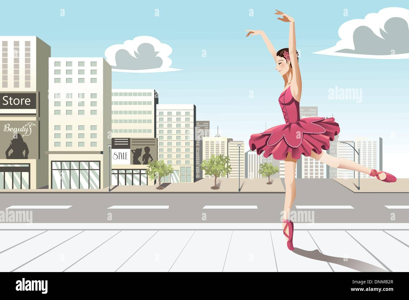 A vector illustration of a ballet dancer dancing in the city - Stock Vector