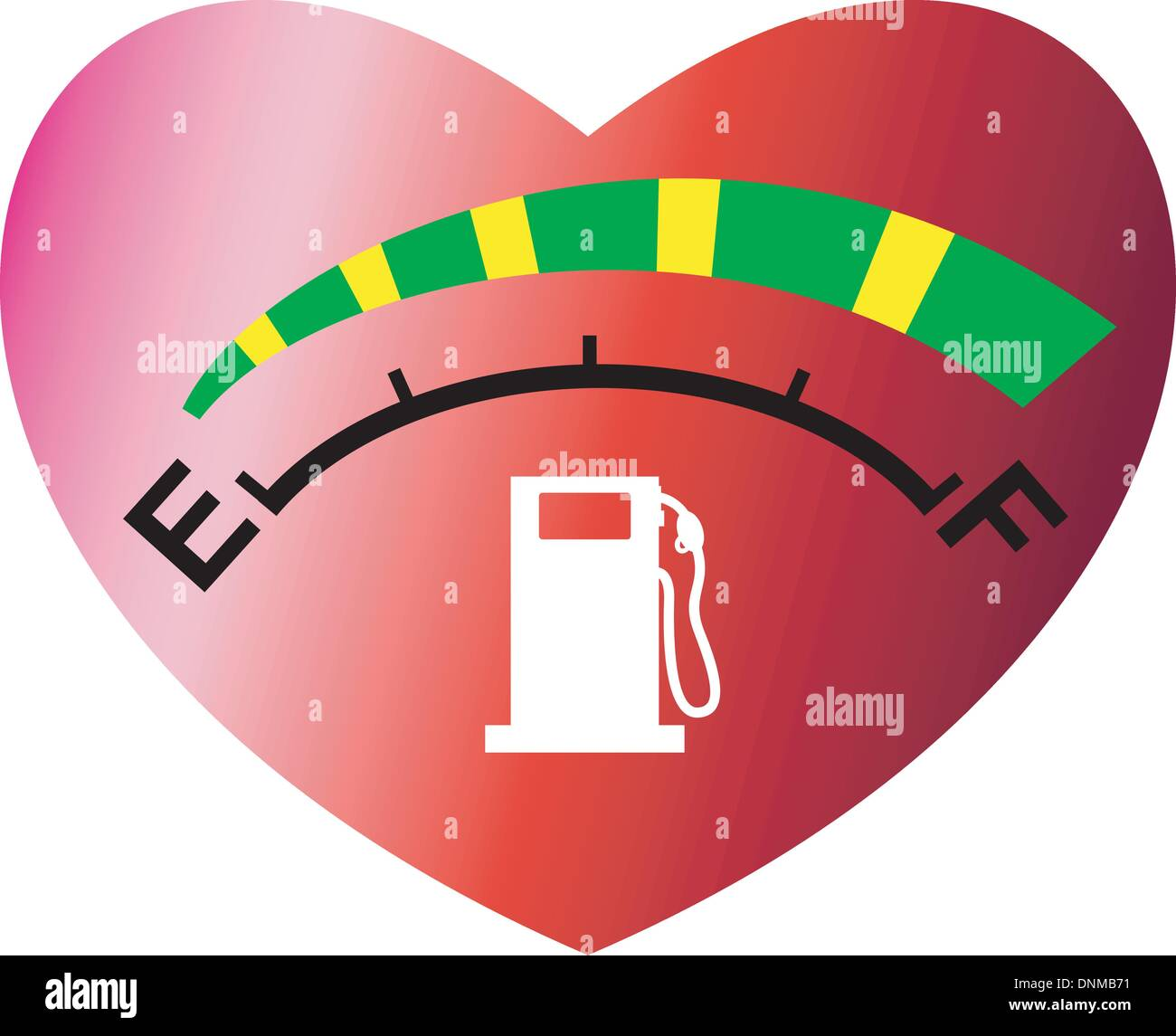 Illustration of a fuel gage meter showing empty to full set inside illustration of a fuel gage meter showing empty to full set inside heart shape on isolated white background ccuart
