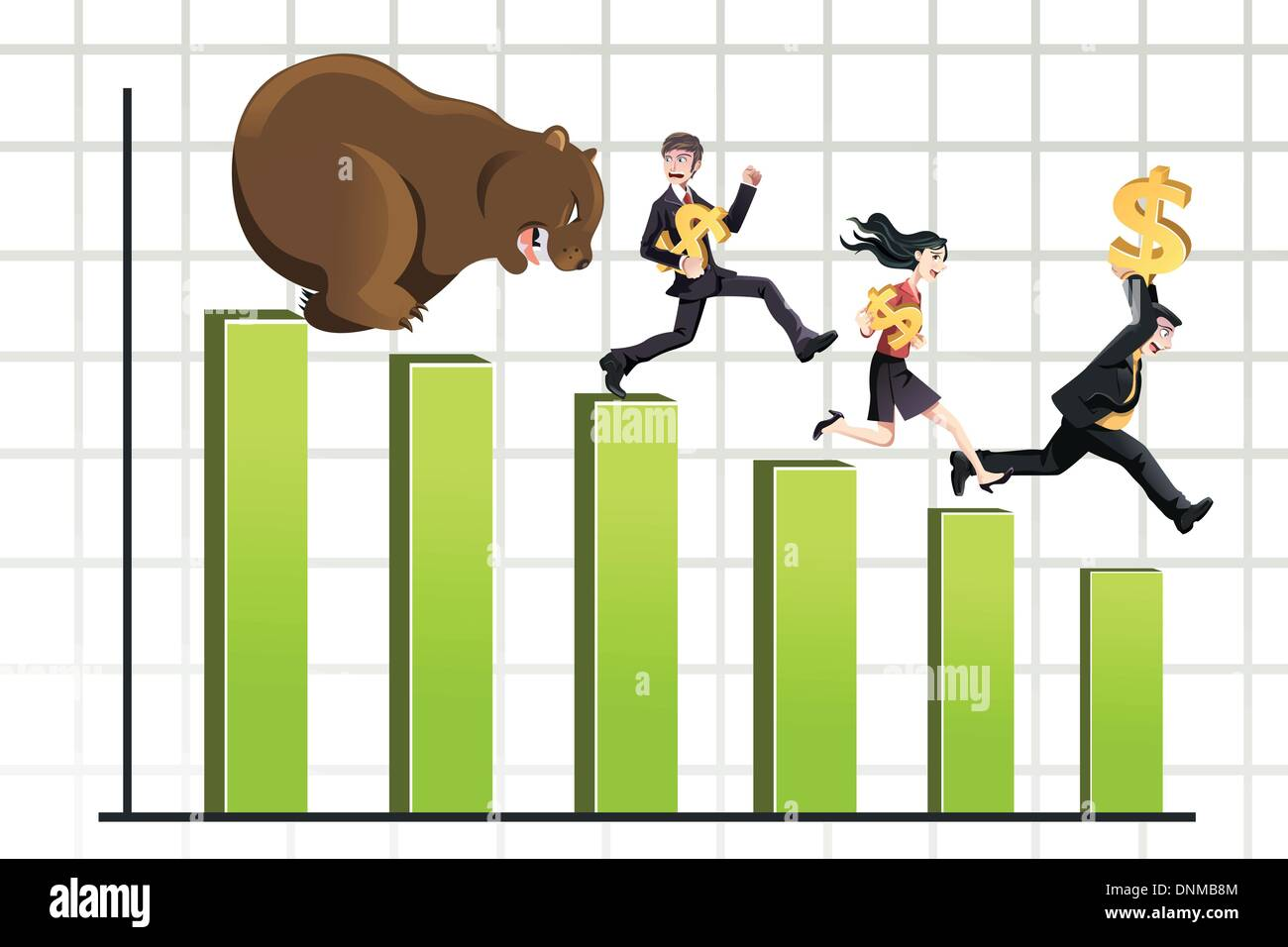 A vector illustration of a bear chasing business people down the chart, can be used for bear market concept - Stock Vector