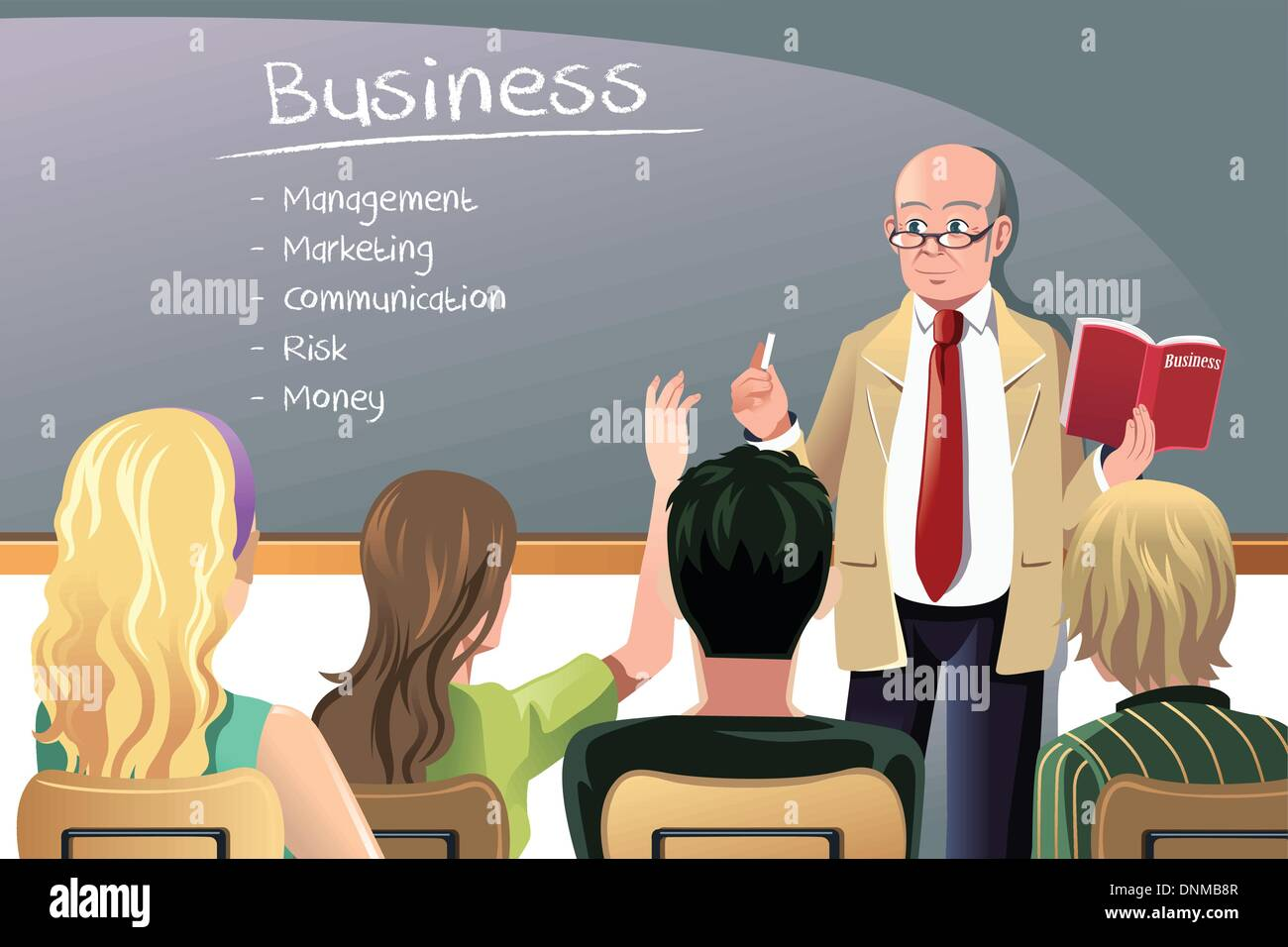 A vector illustration of a business class teacher or