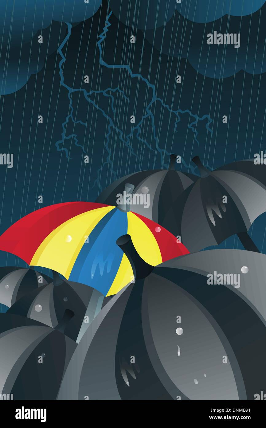 A vector illustration of a colorful umbrella among black umbrellas in the rain - Stock Image