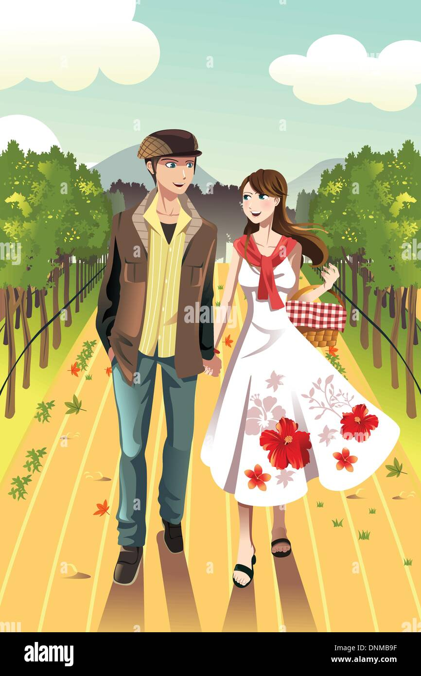 A vector illustration of a young couple walking in a winery - Stock Vector