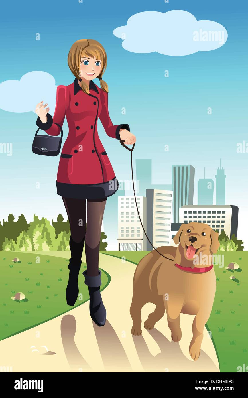 A vector illustration of a woman walking her dog in a park - Stock Vector