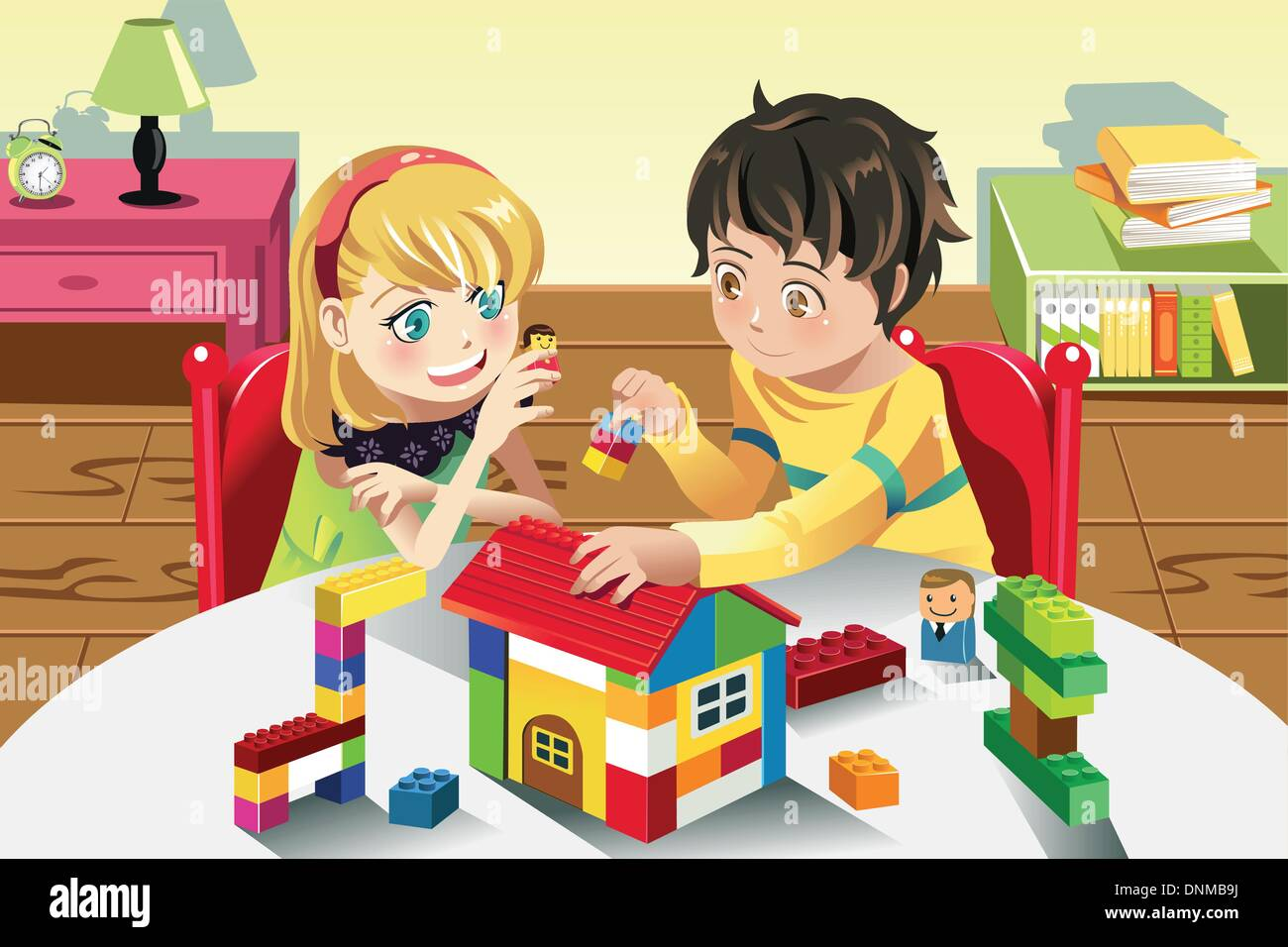 A Vector Illustration Of Kids Playing With Their Toys Stock Vector
