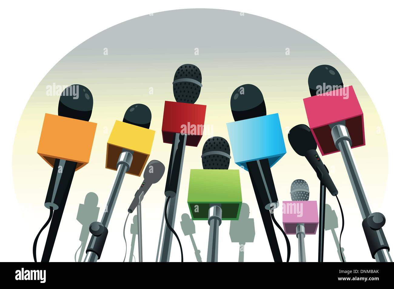 A vector illustration of colorful microphones on the podium with copy space - Stock Image