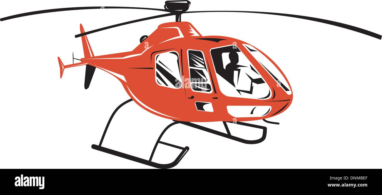 Illustration of a helicopter chopper in flight flying done in woodcut retro style. - Stock Vector