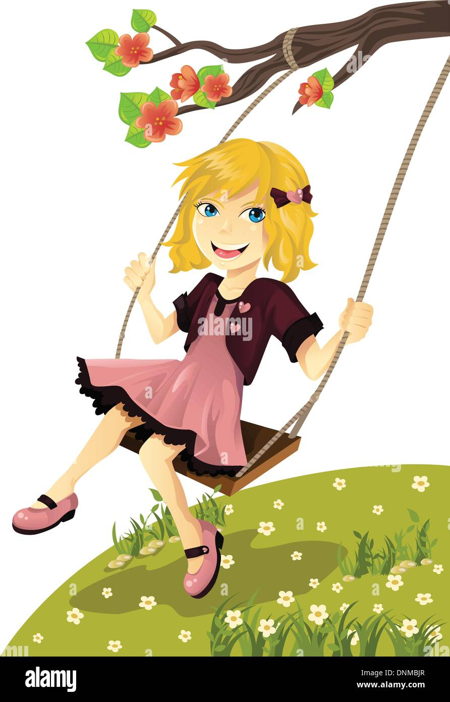 A vector illustration of a cute girl on a swing outside - Stock Vector