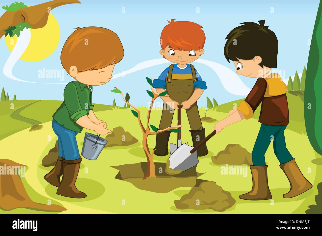 people working together outside stock vector images alamy